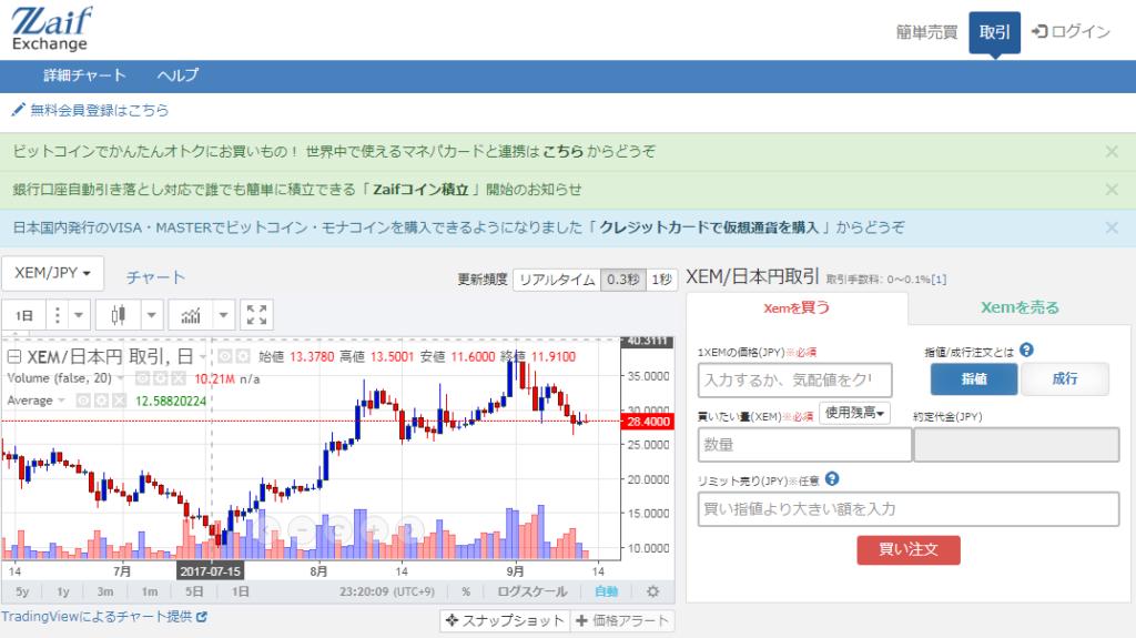 zaifのNEMの取引所の画面イメージ